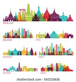 Skyline detailed silhouette set (Thailand, Malaysia, India, Indonesia, China, Vietnam, Japan ). Vector illustration
