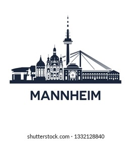 Skyline emblem of Mannheim, city in the southwestern part of Germany