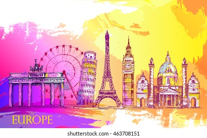 Skyline of Europe, detailed silhouette.Travel Landmarks. vector illustration, hand drawn graphic, artistic Splash paint,  beautiful colorful card with architecture
