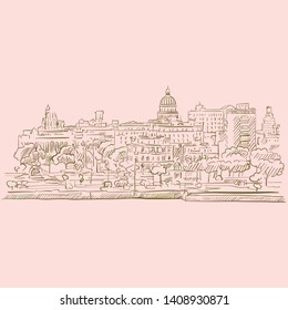 Skyline of Havana, Cuba. brown colored version for Apps, Print or web backgrounds