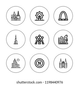 Skyline icon set. collection of 9 outline skyline icons with atomium, bangkok, city, gateway arch, london eye, holstentor, napoli icons. editable icons.