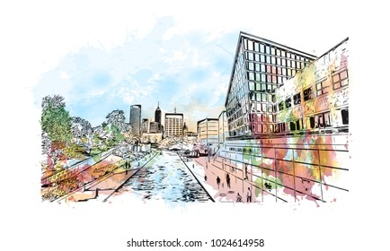 Skyline of Indianapolis City in Indiana, USA. Watercolor splash with Hand drawn sketch illustration in vector.