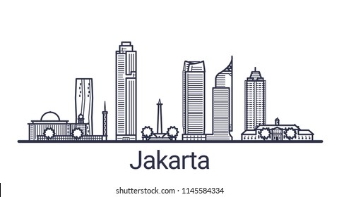 Skyline of Jakarta city in linear style. Jakarta cityscape line art. All buildings separated with clipping masks. So you can change composition and background.
