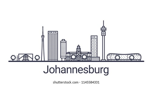 Skyline of Johannesburg city in linear style. Johannesburg cityscape line art. All buildings separated with clipping masks. So you can change composition and background.