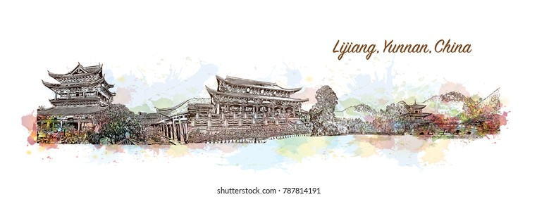 Skyline of Lijiang, Yunnan, China. Watercolor splash with sketch in vector illustration.