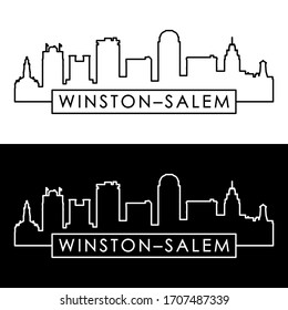 Winston–Salem skyline. Linear style. Editable vector file.