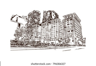 Skyline of Los Angeles City in California. Hand drawn sketch illustration in vector.
