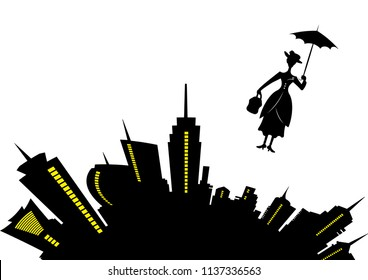skyline of modern city, business woman concept. Mary Poppins vector in the sky with an umbrella, vector illustration