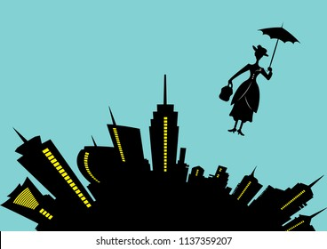 skyline of modern city, business woman concept. Mary Poppins vector in the blue sky with an umbrella, vector illustration