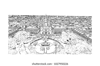 Skyline of New Orleans City in Louisiana, USA. Hand drawn sketch illustration in vector.