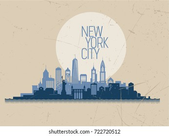 Skyline of New York City. Vector illustration .eps10
