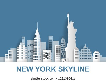 skyline of a New York with statue of liberty, manhatten,   blue background, paper cut art style, vector illustration