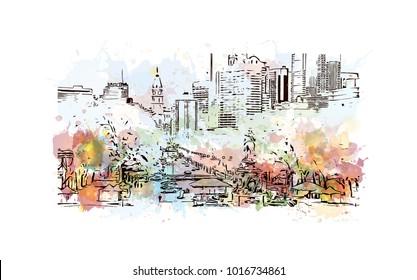 Skyline of Philadelphia City in Pennsylvania, USA. Watercolor splash with hand drawn sketch illustration in vector.