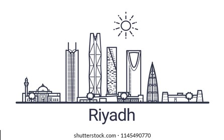 Skyline of Riyadh city in linear style. Riyadh cityscape line art. All buildings separated with clipping masks. So you can change composition and background.