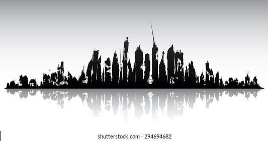 Skyline ruined city