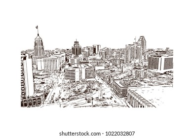 Skyline of San Antonio City in Texas, USA. Hand drawn sketch illustration in vector.