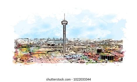 Skyline of San Antonio City in Texas, USA. Watercolor splash with Hand drawn sketch illustration in vector.