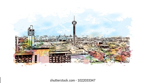 Skyline of San Antonio City in Texas, USA. Watercolor splash with Hand drawn sketch illustration in vector.