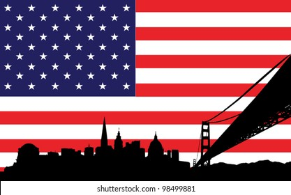 skyline of san francisco with the flag of united states of america