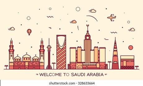 Skyline of Saudi Arabia, detailed silhouette. Trendy vector illustration, linear style.