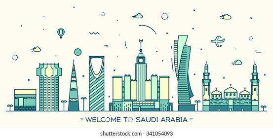 Skyline of Saudi Arabia, detailed silhouette. Trendy vector illustration, linear style.