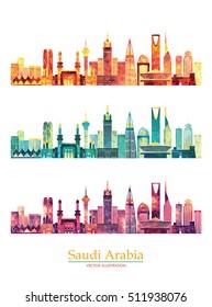 Skyline of Saudi Arabia, detailed silhouette. Vector illustration