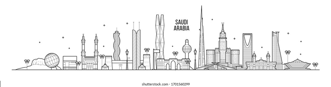 Skyline of Saudi Arabia. This illustration represents the city with its most notable buildings. Vector is fully editable, every object is holistic and movable