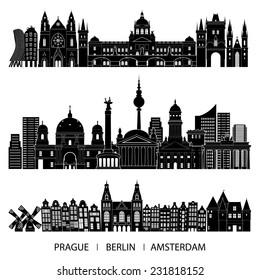 Skyline set (Prague, Berlin, Amsterdam). Vector illustration