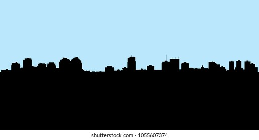 Skyline silhouette of the city of London, Ontario, Canada.
