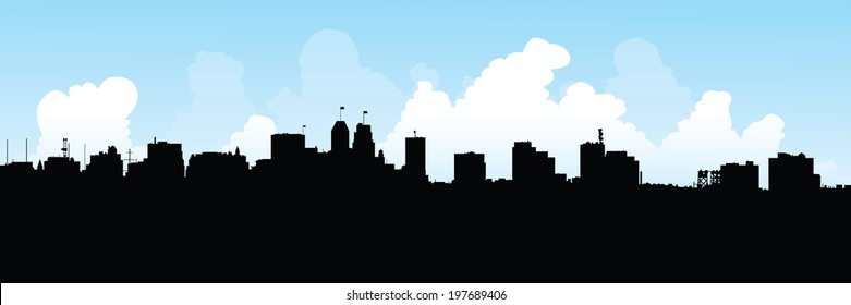 Skyline silhouette of the city of Newark, New Jersey, USA.