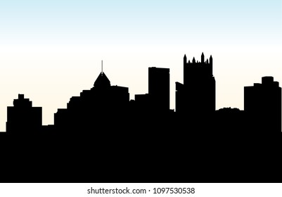 Skyline silhouette of the downtown of the city of Pittsburgh, Pennsylvania, USA.