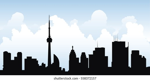 Skyline silhouette of the downtown of the city of Toronto, Ontario, Canada.