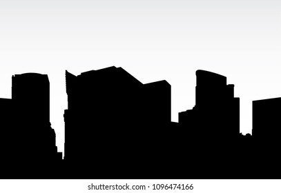Skyline silhouette of a portion of the downtown skyline of the city of Pittsburgh, Pennsylvania, USA.