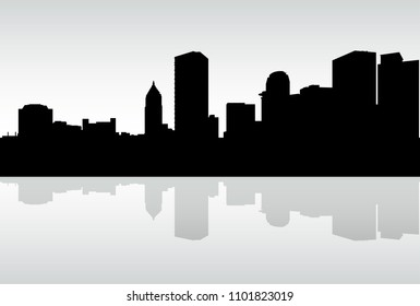 Skyline silhouette of a portion of the downtown riverfront financial district of the city of Pittsburgh, Pennsylvania, USA.