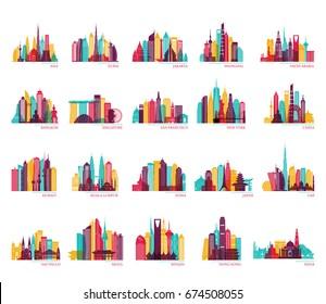 Skyline silhouette set (India, China, Japan, Seoul, Jakarta, Bangkok, Kuwait, Dubai, Saudi Arabia, Riyadh, Doha, Shanghai, New York and other). Travel and tourism vector background.