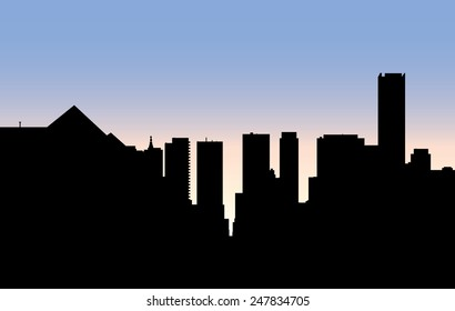 Skyline silhouette of the uptown Yonge and Bloor intersection of the city of Toronto, Ontario, Canada, viewed from the north.
