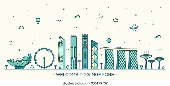 Skyline of Singapore, detailed silhouette. Trendy vector illustration, linear style.