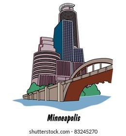 Skyline and skyscrapers in Minneapolis Minnesota.