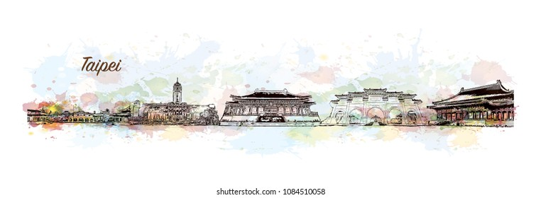Skyline of Taipei, Capital of Taiwan. Watercolor splash with Hand drawn sketch illustration in vector.