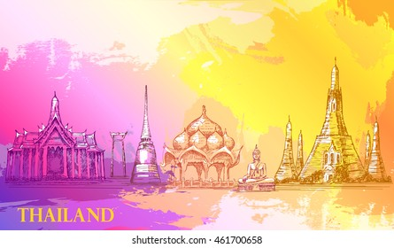 Skyline of Thailand, detailed silhouette.Travel Landmarks. vector illustration, hand drawn graphic, artistic, Splash paint violet and yellow,  beautiful colorful card with architecture