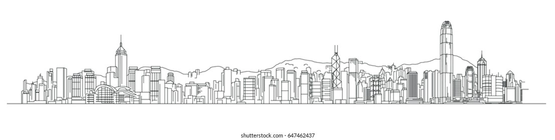 Skyline vector illustration Hong Kong