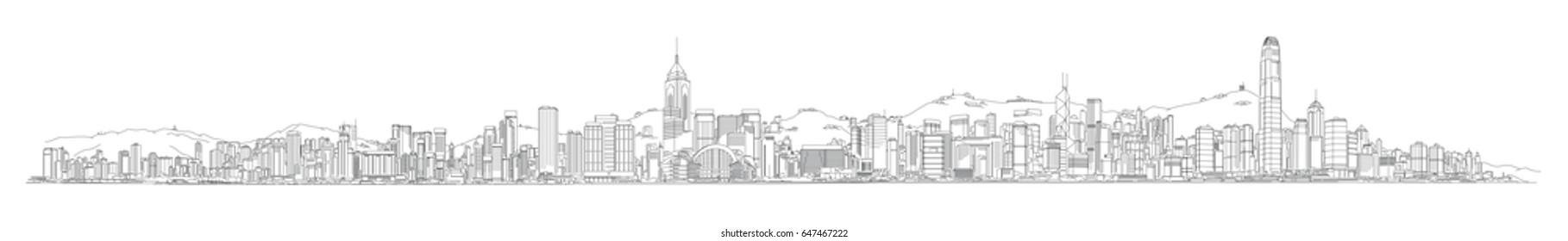 Skyline vector illustration Hong Kong