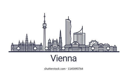 Skyline of Vienna city in linear style. Vienna cityscape line art. All buildings separated with clipping masks. So you can change composition and background.