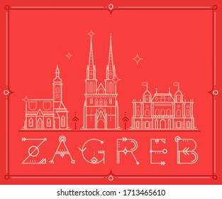 Skyline of Zagreb, Croatia. This vector illustration represents the city with its main attractions and notable buildings. Stylized architecture for websites, graphic design, merchandising