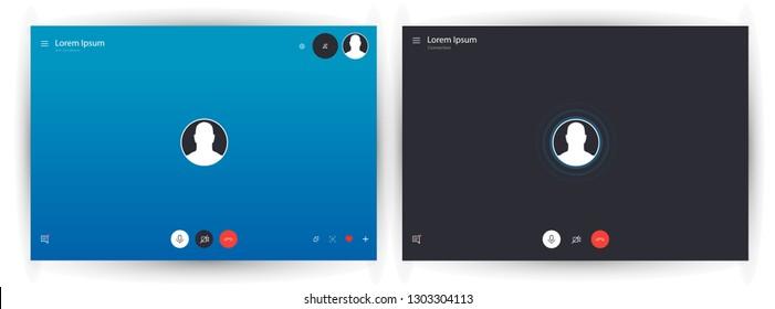 Skype call screen template. Mockup Skype UI,UX,Kit interface. Call screen. Vector illustration eps10