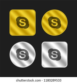 Skype gold and silver metallic coin logo icon design