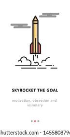 SKYROCKET MOBILE APP ICON MOTIVATION SIMPLE DESIGN FOR DESIGNER.