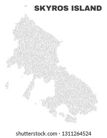 Skyros Island map designed with little dots. Vector abstraction in black color is isolated on a white background. Scattered little particles are organized into Skyros Island map.