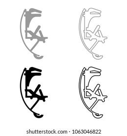 Skyrunner jumper for high jump jumping boots icon set grey black color