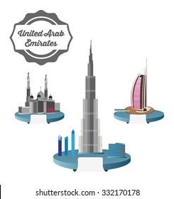 Skyscraper Burj Khalifan , Jumeirah Mosque , Hotel Burj Al Arab in United Arab Emirates,Dubai